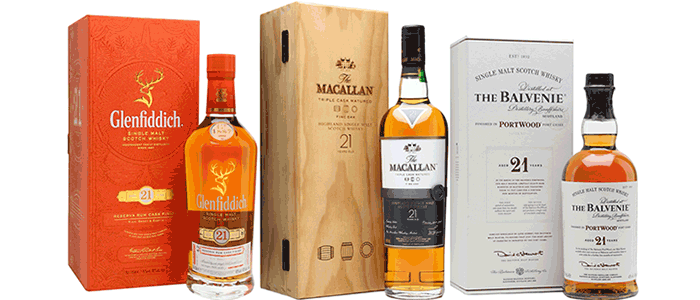Glenfiddich, The Balvenie and The MACALLAN 21 years old Scotch Whiskey